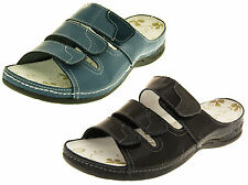 Ladies COOLERS Leather Mules Womens Flat Velcro Slip On Sandals Size 4 5 6 7 8
