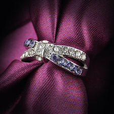 Purple Amethyst & CZ Criss Cross Rings Band Black Gold Filled Jewelry Size 16-20