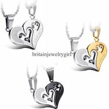 Couples His and Hers Heart Puzzle Stainless Steel Pendant I Love You Necklace