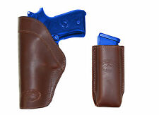 New Barsony Brown Leather IWB Holster + Mag Pouch Astra Beretta Full Size 9mm 40