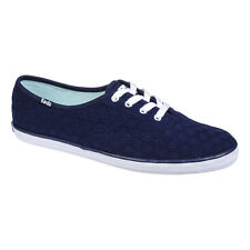 Keds - Womens Navy Blue Eyelet Champion Trainers - Casual Footwear - Canvas Shoe