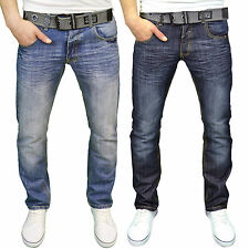 Crosshatch Mens Designer Vintage Wash Regular Fit Jeans, w/ Free Belt BNWT