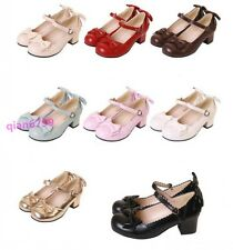 Cute Womens Bowknot Buckle Strap Mary Janes Block Med Heels Lolita Cosplay Shoes