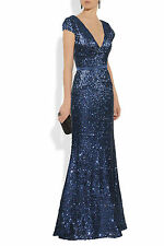 Midnight blue Sequin beading Long Evening Dress Prom ball gown Formal Occasion