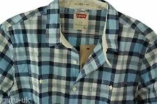 Mens Levis Casual Short Sleeve Shirt Blue Check Small, Large and X-Large BNWT