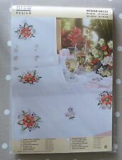 RICO Pre-drawn TABLECLOTH EMBROIDERY KIT 100% cotton 80 x 80 cm BOLD RED