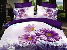3D Bedding Quilt Doona Duvet Cover Bed Sheet Pillowcase Set - Flowers Purple----