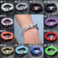 New Unisex Double Layer Leather Crystal Cuff Glossy Magnetic Bangle Bracelet