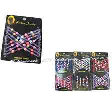 6pc Colorful Flower Stretchy Beaded Magic Hair Combs Double Clips Wholesale Lot