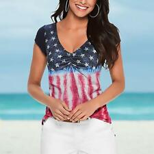 Ladies Women's USA American Flag Print Sleeveless Crop Vest Top T-Shirt S-XL