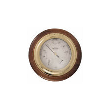 NEW Brass Ships Barometer Clockin Dark Wood,Brass,Medium Wood