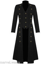 Mens Steampunk Military Trench Coat Long Jacket Black Gothic VTG
