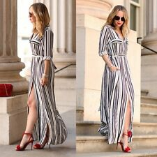 Women's Casual Long Sleeve Tunic Shirt Maxi Black White Striped Split Long Dress