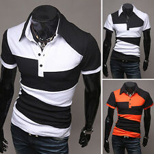 Men's Casual Slim Fit Business POLO Shirt Cotton T-Shirt Short Sleeve Tee Tops