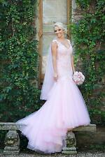 Pink Lace Mermaid Wedding Dress Bridal Gown Custom Size 4 6 8 10 12 14 16 18 20+