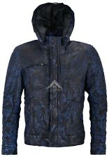 New GHOST PROTOCOL Men's Grey WRINKLED Hooded Mission Impossible Leather Jacket