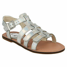GIRLS CLARKS LONI JOY FLAT OPEN TOE RIPTAPE STRAP BUCKLE SUMMER SANDALS SHOES