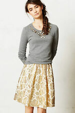 Anthropologie Galilei Skirt Sz 8, Gold Brocade Floral Full Party Skirt By Isani