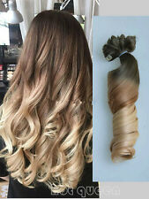 100% Remy Hair Clip In Human Hair Extensions Ombre Blonde Full Head 7Pcs 100g