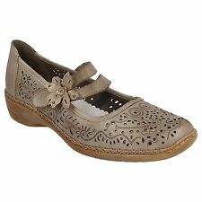 41372 LADIES RIEKER LEATHER VELCRO STRAP MARY JANE CASUAL FLAT SHOES