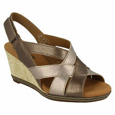 HELIO CORAL LADIES CLARKS LEATHER OPEN TOE SLINGBACK SMART WEDGE SUMMER SANDALS