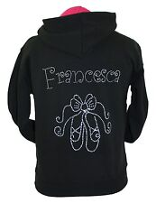 Ballet Hoodie Personalised Rhinestone Diamante Design Any Name
