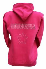Girls Personalised Hoodie Rhinestone Diamante Design Any Name
