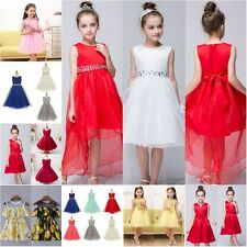 Girls Princess Dress Party Lace Pageant Wedding Bridesmaid Tutu Trailing Dresses