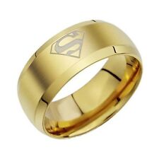 Free Engraving 8MM Superman Gold Tungsten Personalized Men Ring Tungsten Band