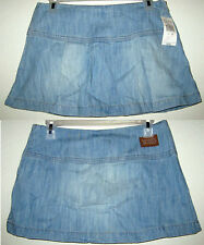 XOXO Blue Distressed Denim Boho Chic Pleated Mini Hipster Low Rise Jeans SKIRT