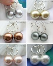 X0187 16mm round south sea shell pearl dangle earring Sterling Silver