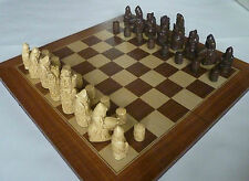 Medieval Chess Set, isle of Lewis Style, Ivory and Mahogany Pieces.