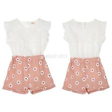 2Pieces Kids Girls Summer Sweet Flowers Fly Sleeve T-shirt + Shorts Floral Suit