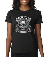 Lucky 7 Live To Ride Biker Skulls Aces Spades Chopper Ladies Tee Shirt