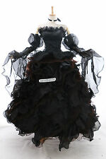 a-010 m/L Bridal black Victorian Cosplay Costume Gothic Prom dress EVENING GOWN