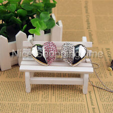 USB 2.0 32GB 16GB Crystal Heart Jewelry Necklace Memory Stick Flash pen Drive