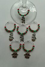 SET OF 6 CHRISTMAS WINE GLASS CHARMS.  GREAT GIFT OR TABLE DECORATIONS