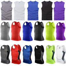 Mens Compression Base Layer Sports Under Wear Sleeveless Tank Top Vest T-Shirts