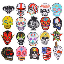 UK DIY New Embroidered Iron On Patch Motif Badge Skull Cigarette Crown Red Devil