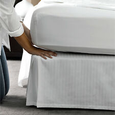 "1000TC Tailored Bed Skirt 1-Piece Striped ""White"" Bed Skirt 100% Egyptian Cotton"