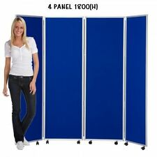 Mobile Concertina Folding Room Divider, 4 panel, 1800mm high, Nyloop Fabric