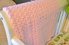 Baby Afghan Ripple Shell Stitch Crocheted Yarn Blanket NEW Handmade by Grandma
