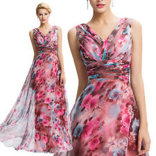 GK Double V-Neck Floral Pattern Chiffon Ball Gown Evening Prom Party Dresses