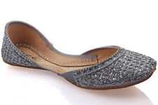 UNZE WOMENS 'MYRSE' EMBELLISHED LEATHER INDIAN KHUSSA UK SIZE 3-8 SILVER