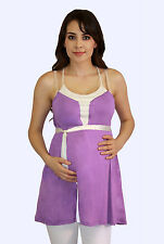 Lily Purple Solid Spagetti  Maternity Blouse Womens Sleeveless Tank Top S M L XL