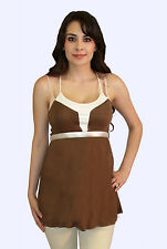 Brown White Solid Spagetti  Maternity Blouse Womens Sleeveless Tank Top S M L XL