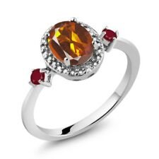 1.35 Ct Oval Orange Red Madeira Citrine Red Ruby 925 Sterling Silver Ring