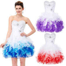 LADIES Strapless Beading Organza Dress Beaded Ball Cocktail Evening Prom Party