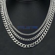 3.5/5/7 mm MENS Chain Stainless Steel Silver Cuban Curb Link Necklace 18-30''
