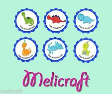 Pre-Cut Edible Cake Toppers - CUTE DINOSAUR CAKE TOPPERS - Personalised!